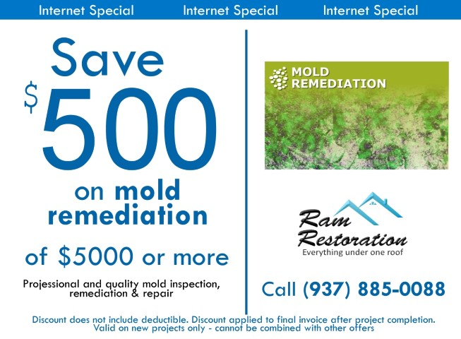 Save $500 on Mold Remediation, Mold removal jobs in Dayton Ohio