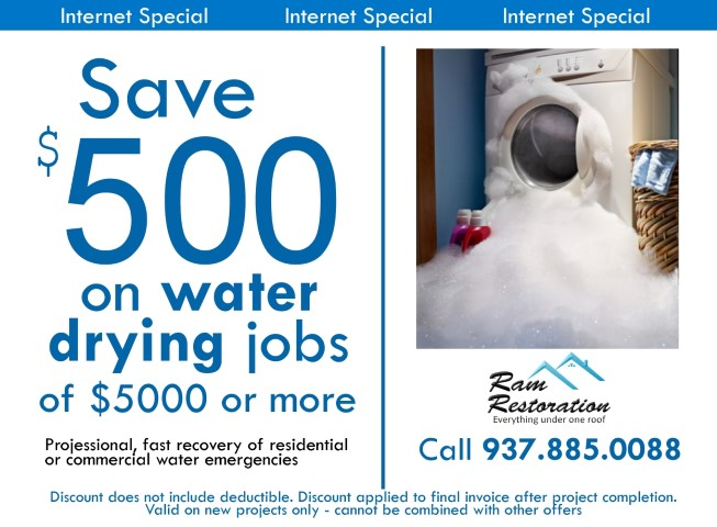 Dayton Ohio water restoration - Save $500 on water dry-out jobs for a limited time